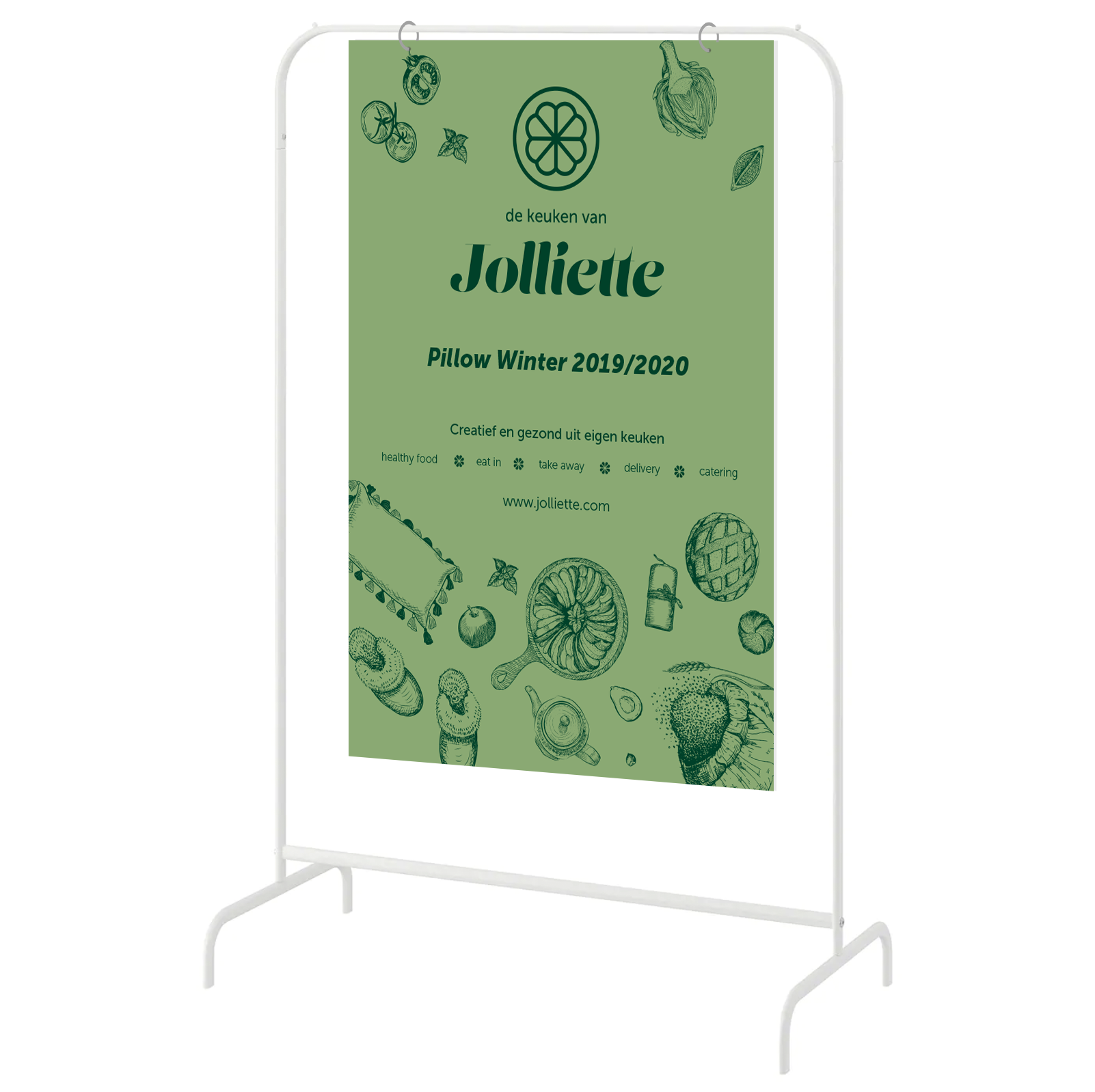 Jolliette pop-up healthy food shop branding board design