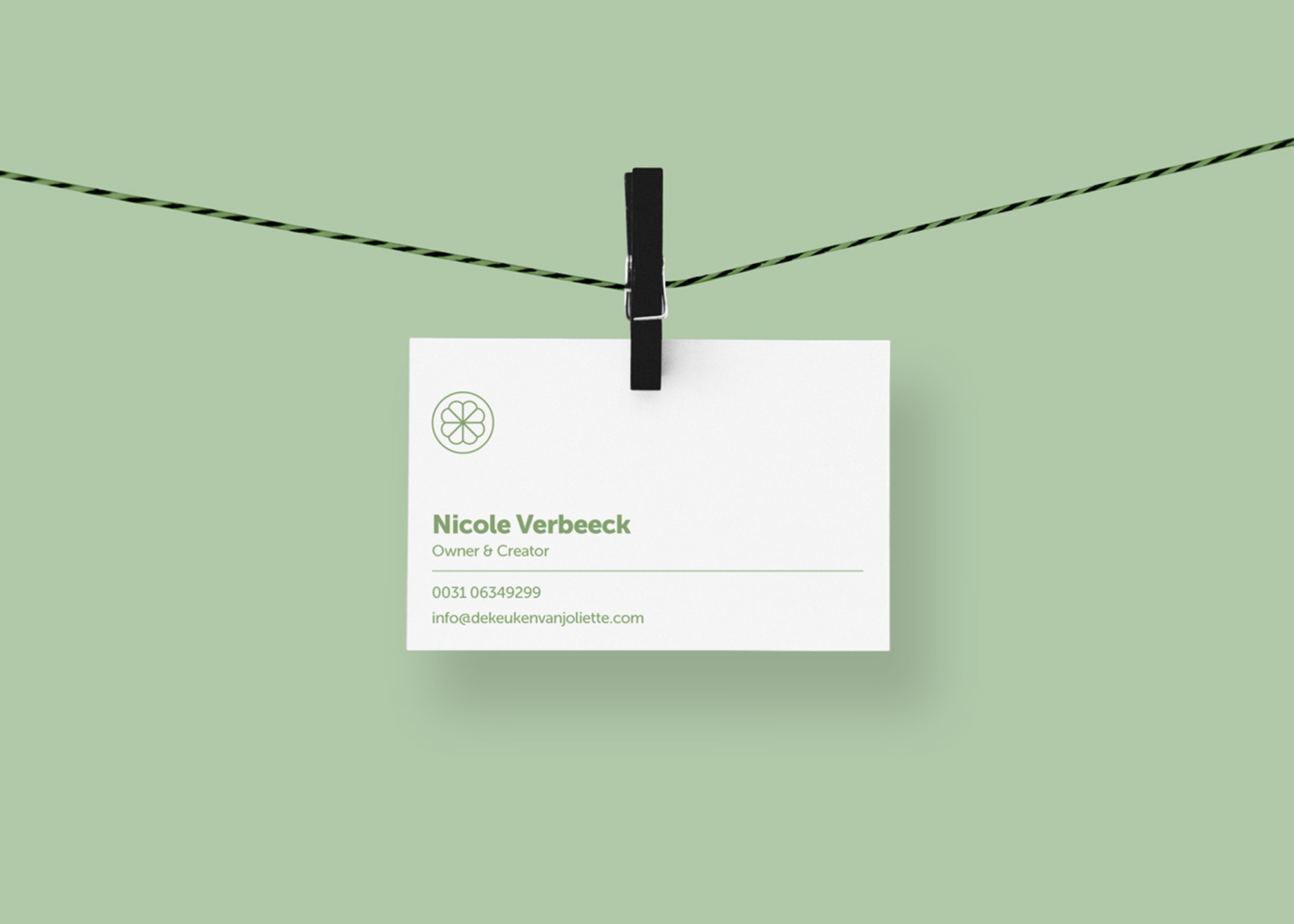 Jolliette pop-up healthy food shop branding business card design
