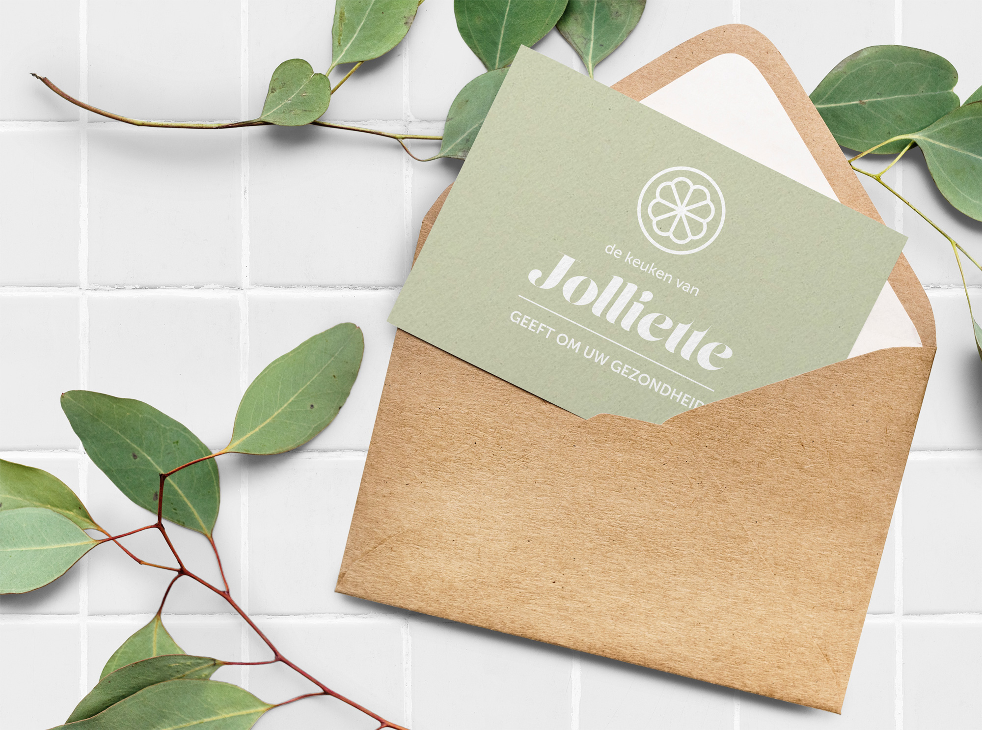 Jolliette pop-up healthy food shop branding invitation card design