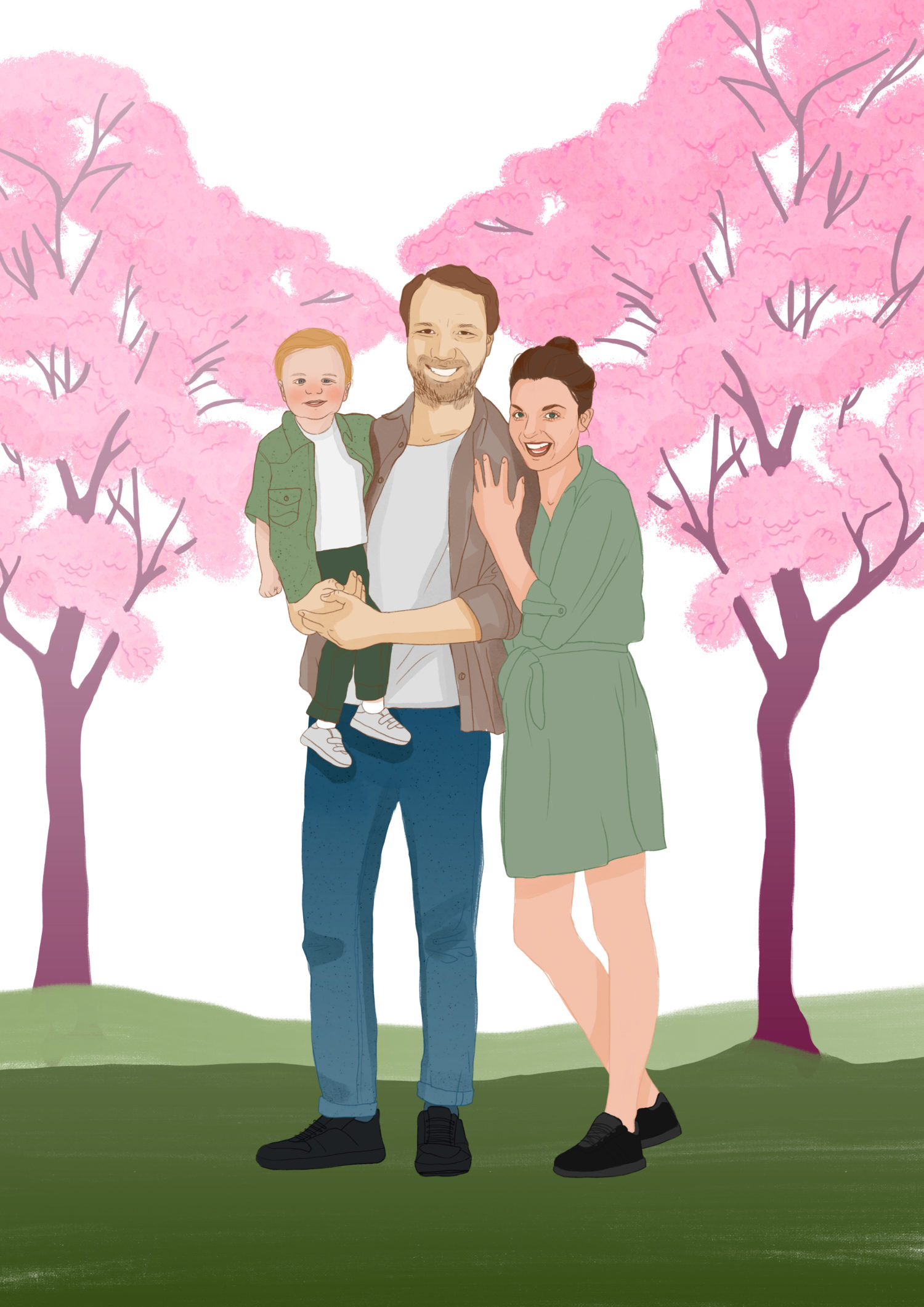 Family portrait illustration commission