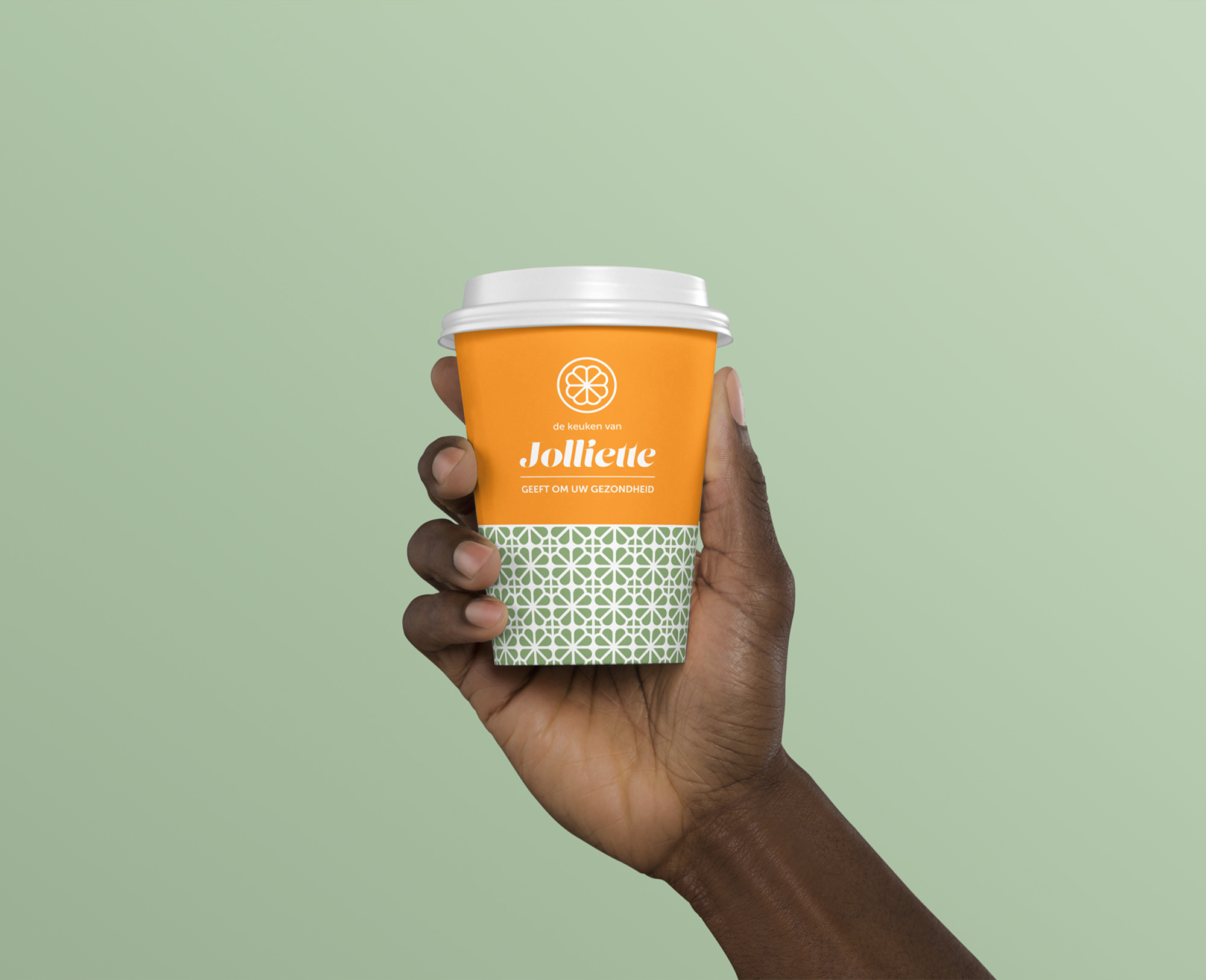 Jolliette pop-up healthy food shop branding cup design
