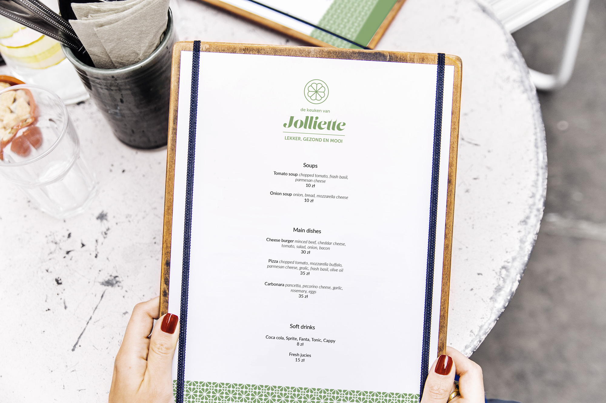 Jolliette pop-up healthy food shop branding menu design